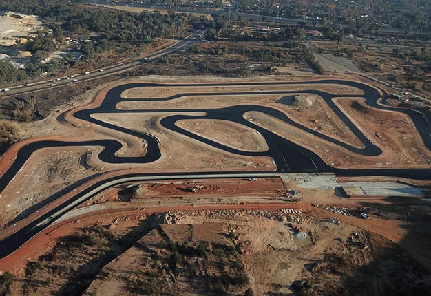 Aerial shot of the track under construction
