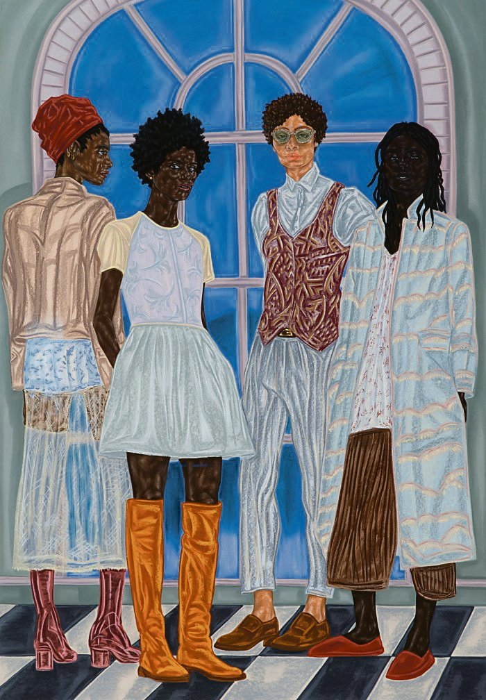 comfortable in one's skin Toyin Ojih Odutola depicts her scenes in pastel, pencil and charcoal, creating layered drawings that explore the construct of skin colourARTWORK: Toyin Ojih Odutola