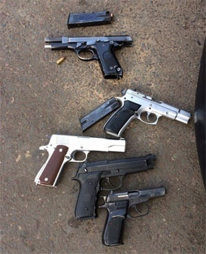 Guns recovered after a shoot-out. (Supplied to News24)