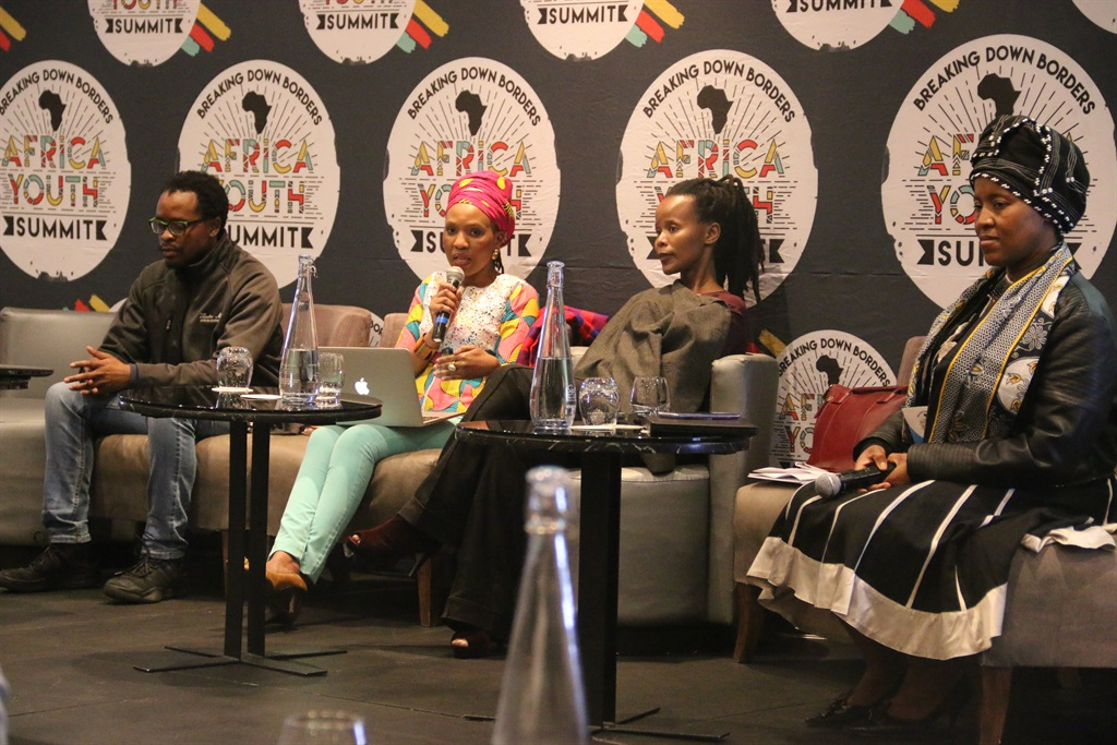 From left to right: Thabo Mbeki African Leadership Institute researcher Moorosi Leshoele, Tsakane Mahlaule, Associate Professor in psychology at Unisa Zethu Cakata and lecturer at Unisa Dr Edith Paswane speak in the panel discussion on decolonising education. Picture: Phelokazi Mbude