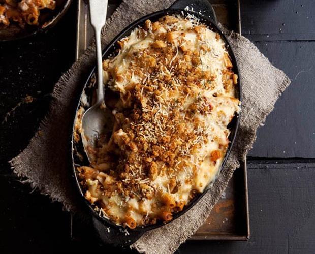 freshly baked macaroni and cheese