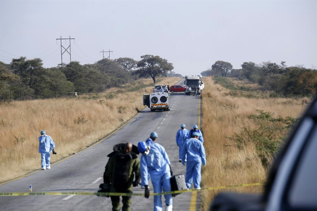 File photo: Forensic experts busy investigating the scene after the SBV cash van was robbed of an undisclosed amount of money. (Joshua Sebola)