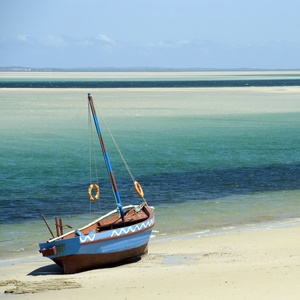 Photograph of a dhow sitting on the shoreline of a