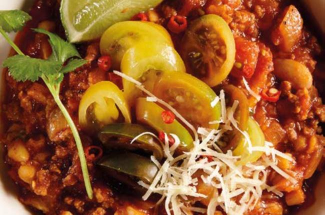 Chilli con carne with samp