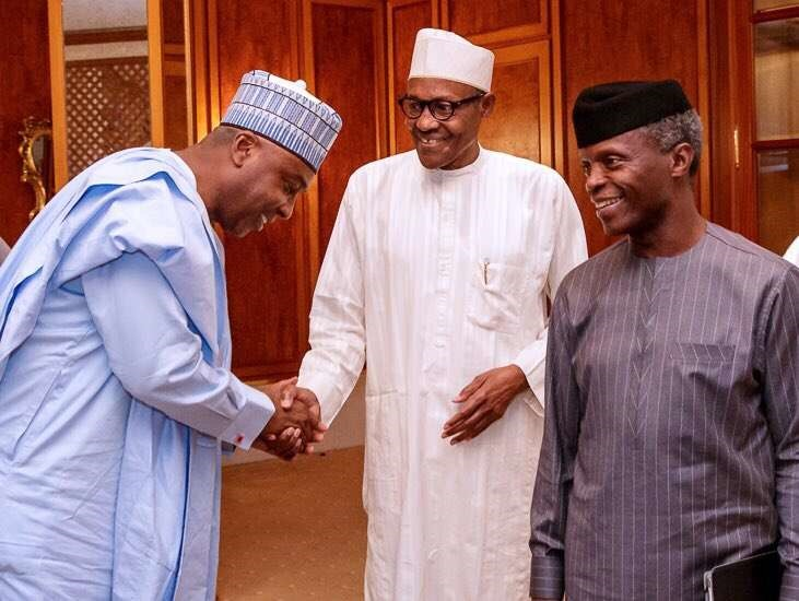 Bukola Saraki Greets President Buhari While VP Osi