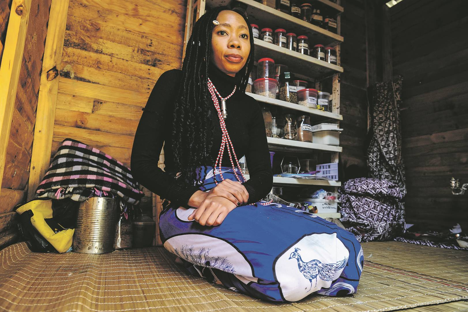 Nomfundo Dhlamini, also known as Gogo Nomakhosi, in her hut at her home in Brackendowns, south of Johannesburg. Picture: Rosetta Msimango