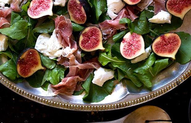 freshly made fig, Parma ham and buffalo mozzarella