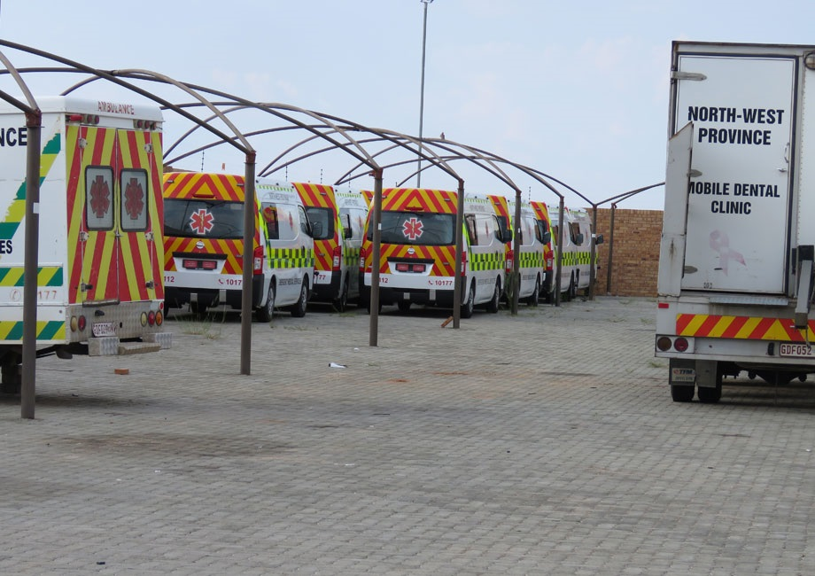 New ambulances were parked at the North West health department offices for seven months, waiting to be registered and licensed. Picture: Poloko Tau/City Press