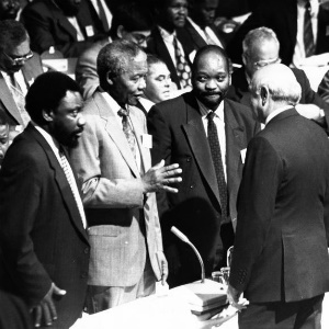 Former president Nelson Mandela, pictured here at the Convention for a Democratic SA in Kempton Park in the early 1990s, is being unfairly judged by today's standards. (File, City Press)