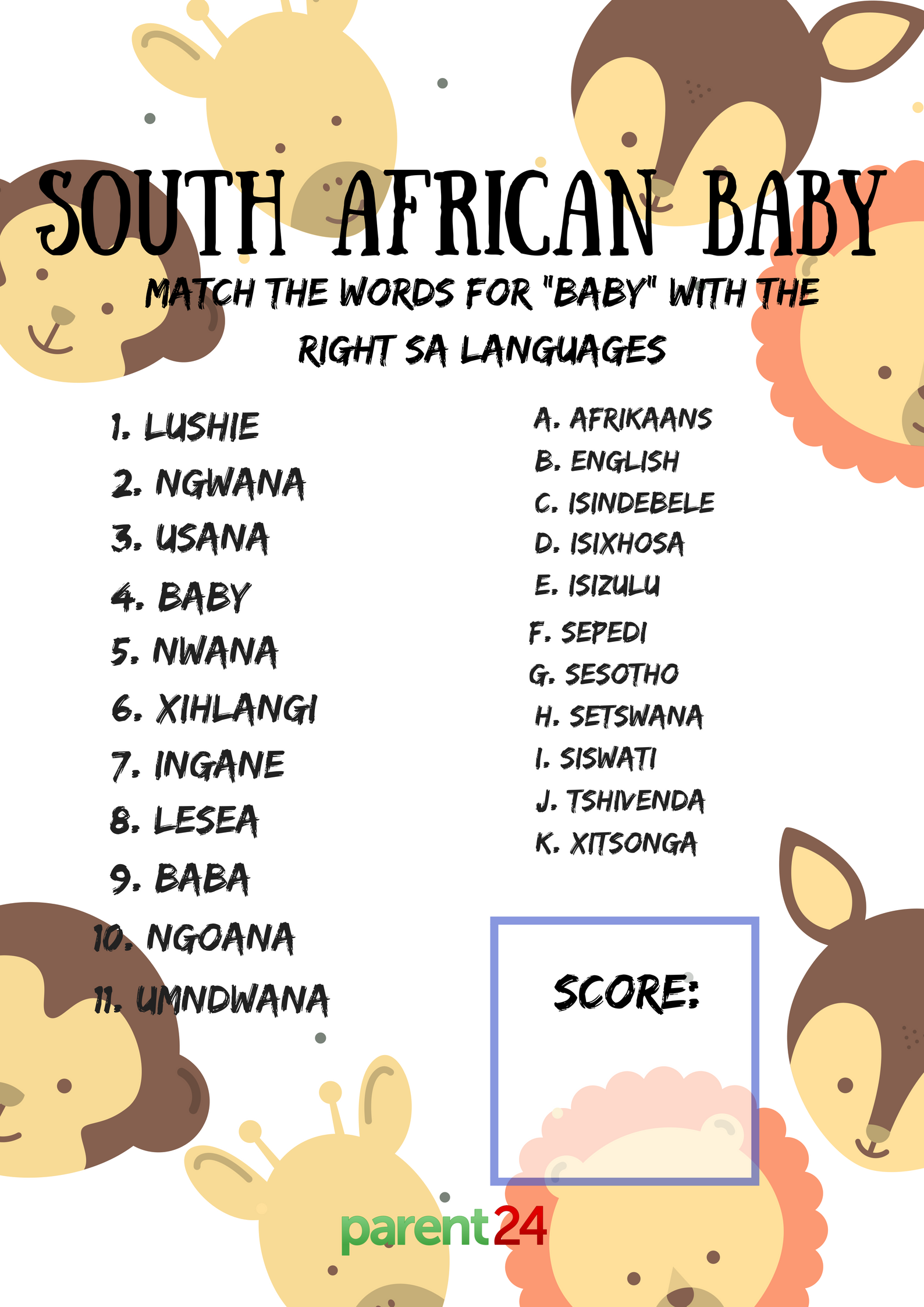 PRINTABLES: Download our baby shower games | Parent24