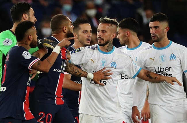 PARIS, FRANCE-SEPTEMBER 13: Neymar Jr #10 of Paris Saint-Germain reacts to a racist insult from Alvaro Gonzalez #3 of Olympique Marseille during the match between Paris-Germain (PSG) and Olympique Marseille (OM) at Parc des Princes on September 13, 2020 in Paris, France. (Photo by Xavier Laine/Getty Images)