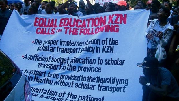 Members of Equal Education and pupils protest outside the Department of Education offices in Pietermaritzburg.