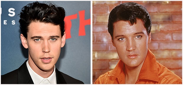 Austin Butler and Elvis Presley.