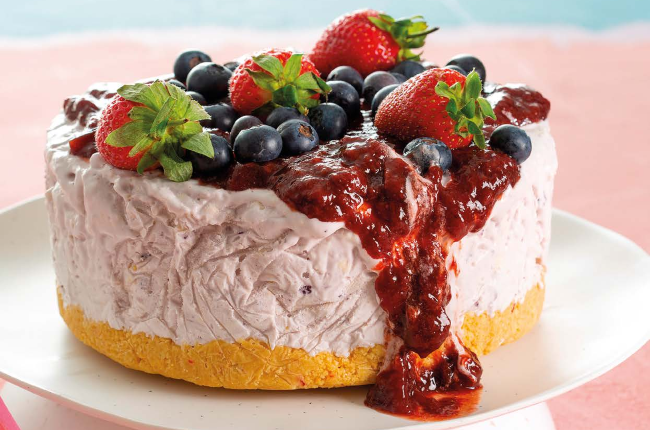 Frozen Berry Cheesecake.