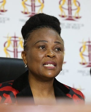 Public protector Busisiwe Mkhwebane speaks during a media briefing in Pretoria. (Photo by Gallo Images/Sunday Times/Thapelo Morebudi)