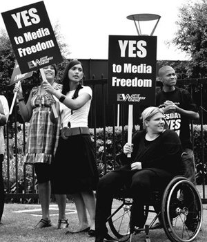 Members of the National Press Club, the SA National Editors' Forum, media staff and members of the public protest against the Protection of State Information Act outside Primedia House in Johannesburg shortly after it was passed on November 22 2011