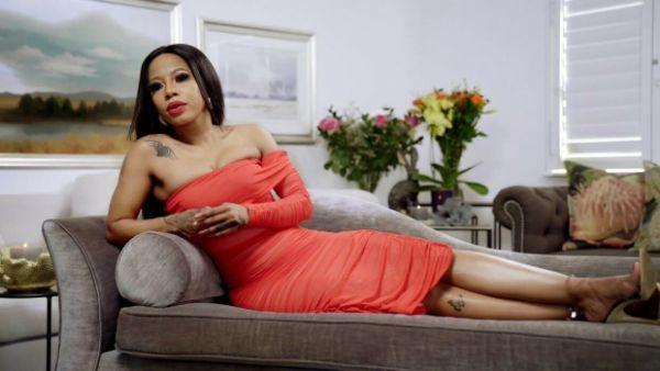 kelly khumalo red burnt orange dress
