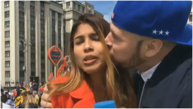 Colombian correspondent Julieth Gonzalez being harassed by supporter.