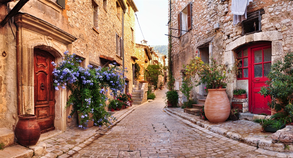 Old, romantic, french stone street panorama,very r
