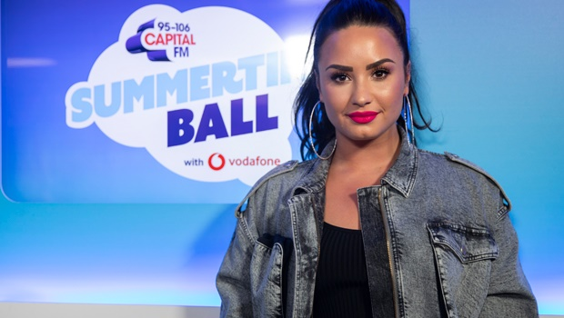 Demi Lovato pictured at Wembley Stadium in London.
