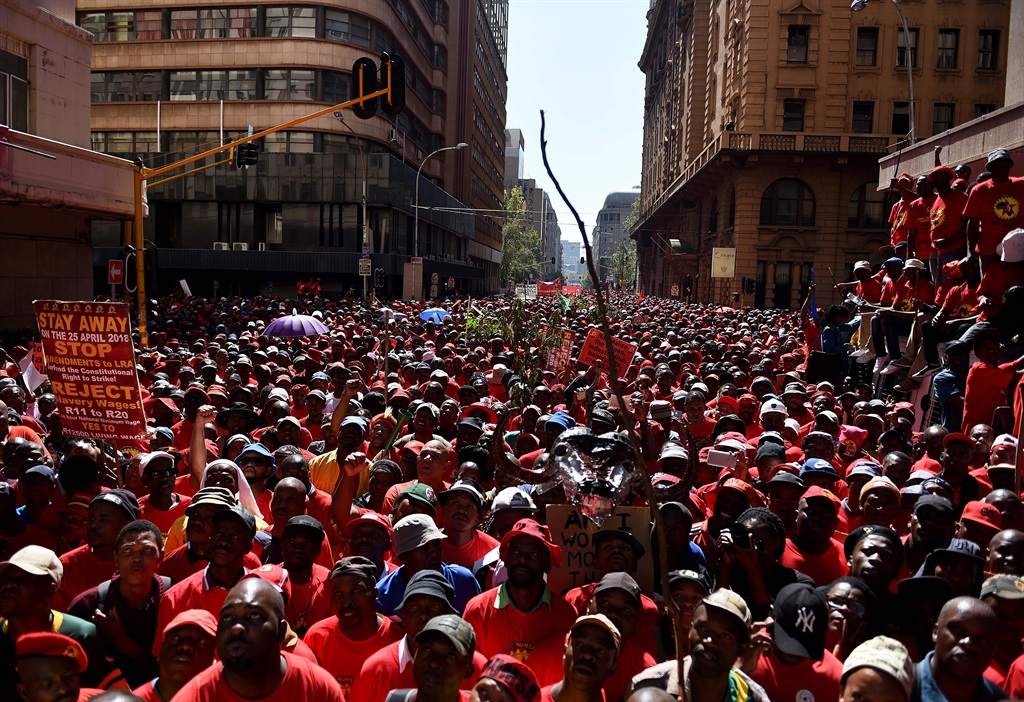 Thousands of Saftu members marched through Johannesburg CBD on April 25 2018 in protest against the government's proposed minimum wage. Picture: Tebogo Letsie/City Press