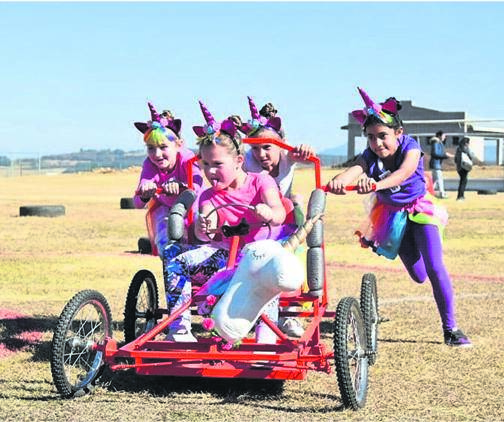 photo: suppliedWembley College pupils Lize Pretorius, Ella Minnaar, Eleni Dede, and Medha Aheer teamed up as the Unicorns to compete in the Founder's Day Go-Kart race.