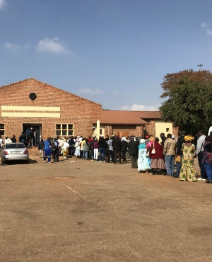 Members of the public line up in Tzaneen, Limpopo, to participate in the public hearings into the amendment of section 25 of the Constitution to allow for land expropriation without compensation. (Alex Mitchley, News24)