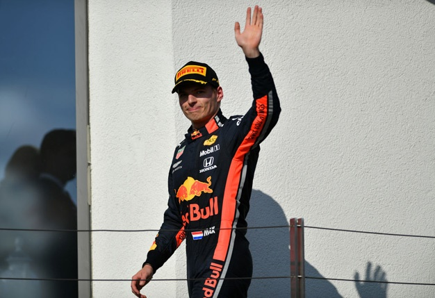 Second placed Max Verstappen of Netherlands and Red Bull Racing celebrates on the podium during the F1 Grand Prix of Hungary at Hungaroring on August 04, 2019 in Budapest, Hungary. (Photo by Dan Mullan/Getty Images)