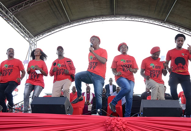 EFF leader Julius Malema addressing supporters at Philippi Stadium in Cape Town. (Gallo Images/Lulekwa Mbadaman, file)