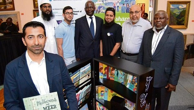 The Asifunde Mobile Library campaign was launched yesterday by the public and private sector at the Tatham Art Gallery. Pictured from left is Ahmed Motala (NAEF), Irshaad Amod (Nizamia Islamic School), Naasir Hoosen (Supersave), Mayor Chris Ndlela, M