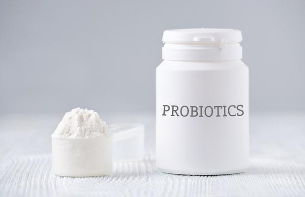 Probiotic powder on white background