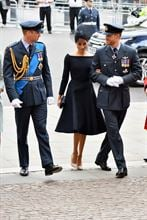 (L-R) Prince William, Duke of Cambridge, Meghan, Duchess of Sussex and Prince Harry, Duke of Sussex attend as members of the Royal Family attend events to mark the centenary of the RAF on 10 July 2018 in London, England.  (Photo by Jeff Spicer/Getty Images)