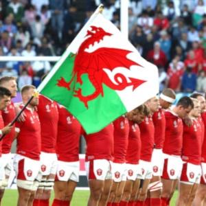 KUMAMOTO, JAPAN - OCTOBER 13: Wales players line u