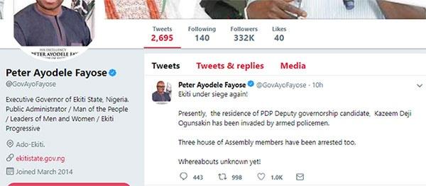 Ayodele Fayose on police siege in Ekiti