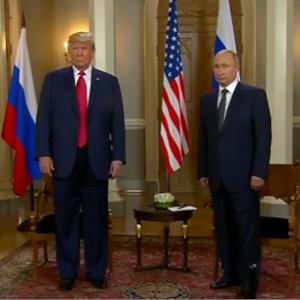 US President Donald Trump and Russian President Vladimir Putin. (Screengrab)