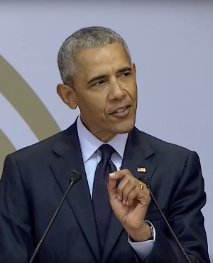 Former US president Barack Obama delivers the annual Nelson Mandela memorial lecture on Tuesday (Jerusha Sukhdeo-Raath, News24)