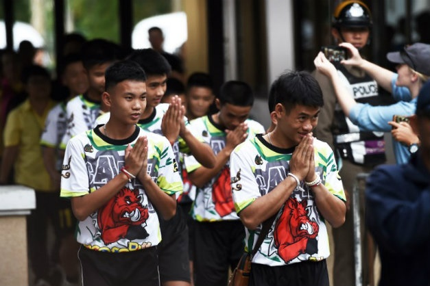 Some of the 12 Thai boys rescued from a flooded ca