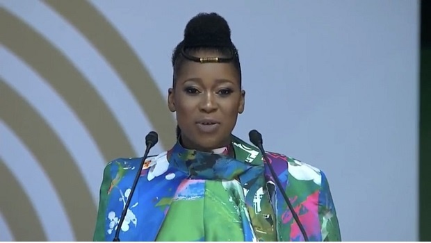 Bus Mkhumbuzi at the 16th Nelson Mandela Lecture, 17 July 2018. Credit: Twitter