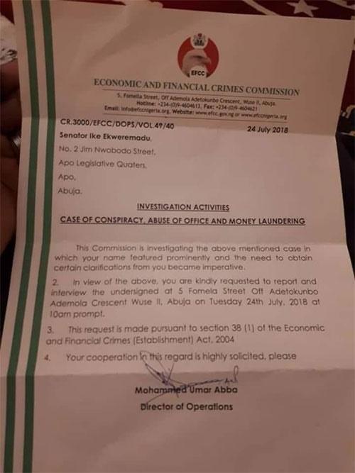 EFCC letter to Ike Ekweremadu