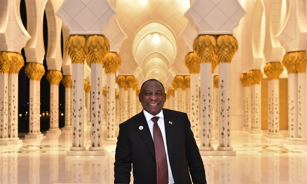 President Cyril Ramaphosa on a guided tour of Sheik Zayeed Grand Mosque in Abu Dhabi, United Arab Emirates. Picture: Kopano Tlape/GCIS