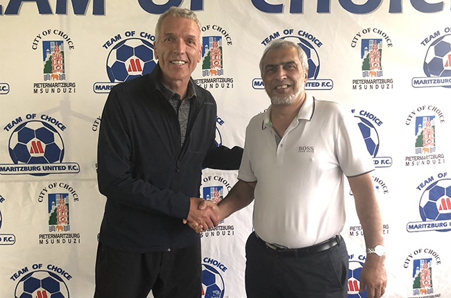 New head coach Ernst Middendorp being unveiled as the new head coach of Maritzburg United by chairperson Farook Kadobia.