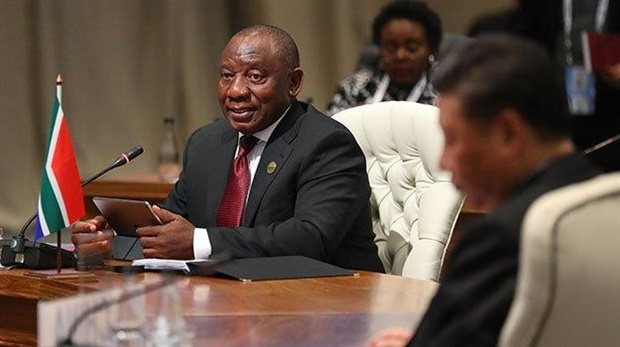 <em>President Cyril Ramaphosa addresses the first closed session of leaders of the 10th Brics Summit at the Sandton Convention Centre in Johannesburg this morning. (Photo: Mike Hutchings, AFP)</em>