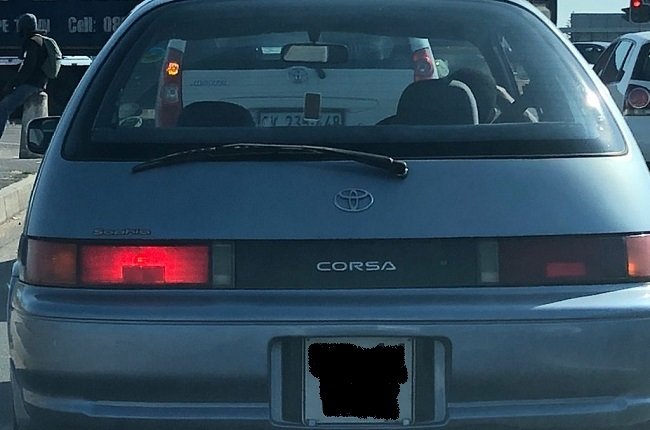 Wheels24 reader Keanan Gallant snapped an image of what appears to be a Toyota Corsa.