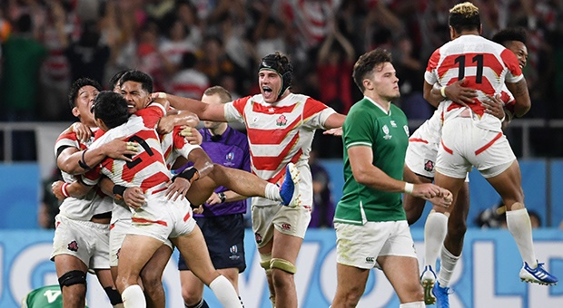 Japan celebrate beating Ireland