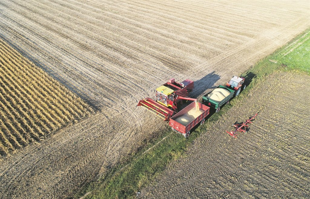 An aerial image of a soybean harvest.