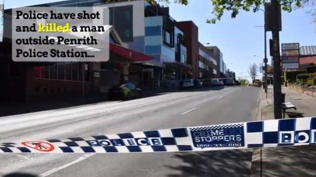 Officers have shot and killed a man outside Penrith Police Station in Sydney's west after he opened fire with a pump-action shotgun. (Screen grab, Australian Associated Press)
