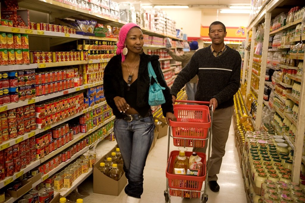 Shoppers shop for food