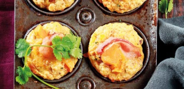 Bacon and butternut muffins with bean salad