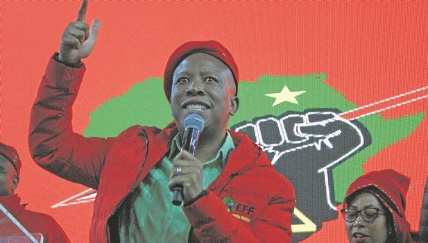 EFF leader Julius Malema speaks during a Women's Day event in Caluza on Thursday.