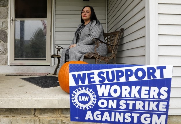 Diana Reed, a United Auto Workers (UAW) Local 5960 member that works in the tyre room at General Motors (GM) Orion Assembly at her Waterford, Michigan home. <i> Image: AFP </i>